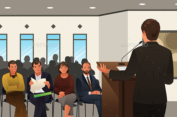 Businessman Speaking at a Podium in a Conference  - Business Conceptual