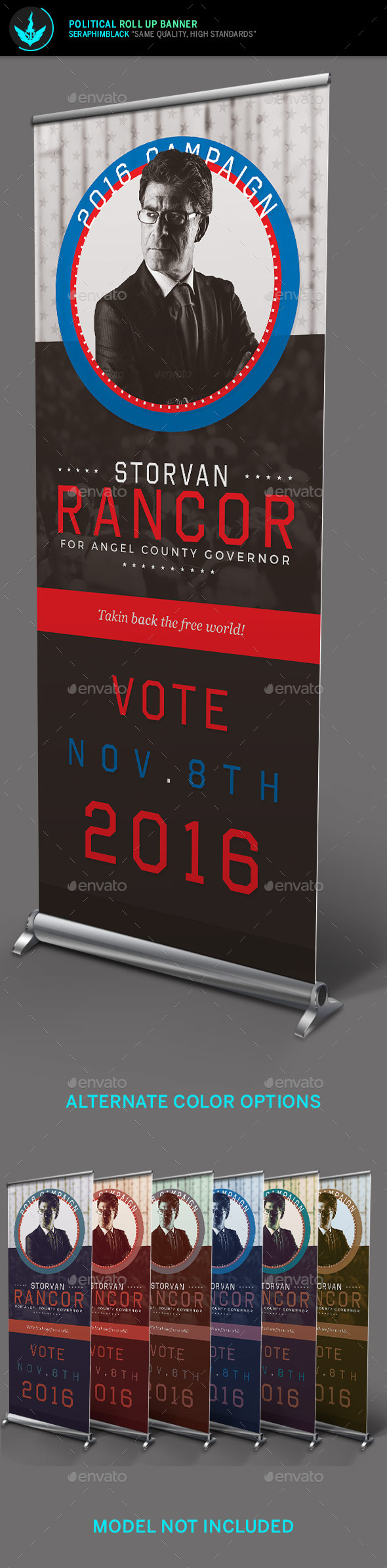 Political Roll Up Banner Template - Signage Print Templates