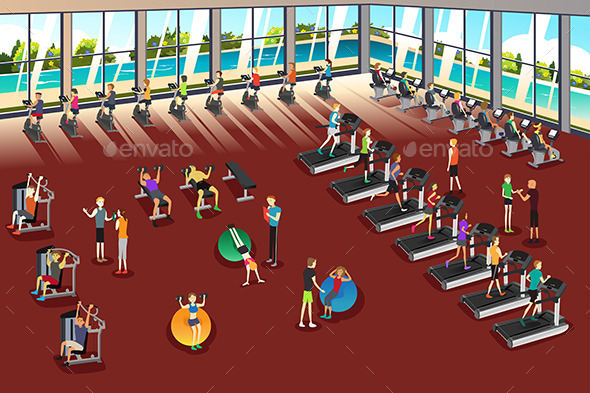 Scenes Inside a Fitness Center - Sports/Activity Conceptual