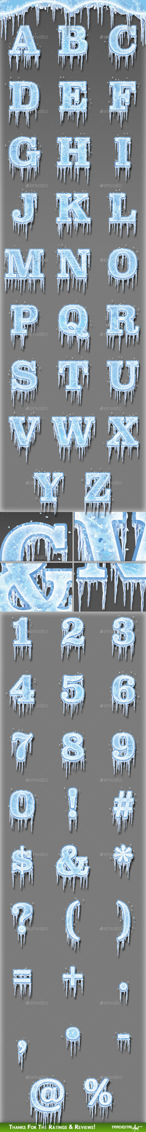 Frozen Alphabet, Numbers & Symbols - Decorative Symbols Decorative