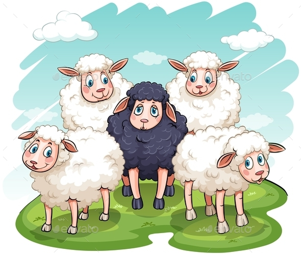 Five Sheeps - Animals Characters