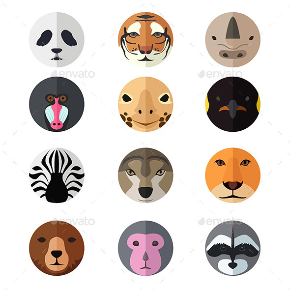 Animal Head Icons - Animals Characters