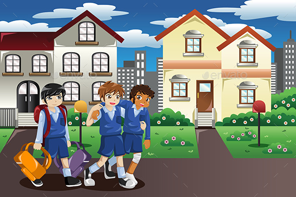 Injured Kid Walking Home From School - People Characters