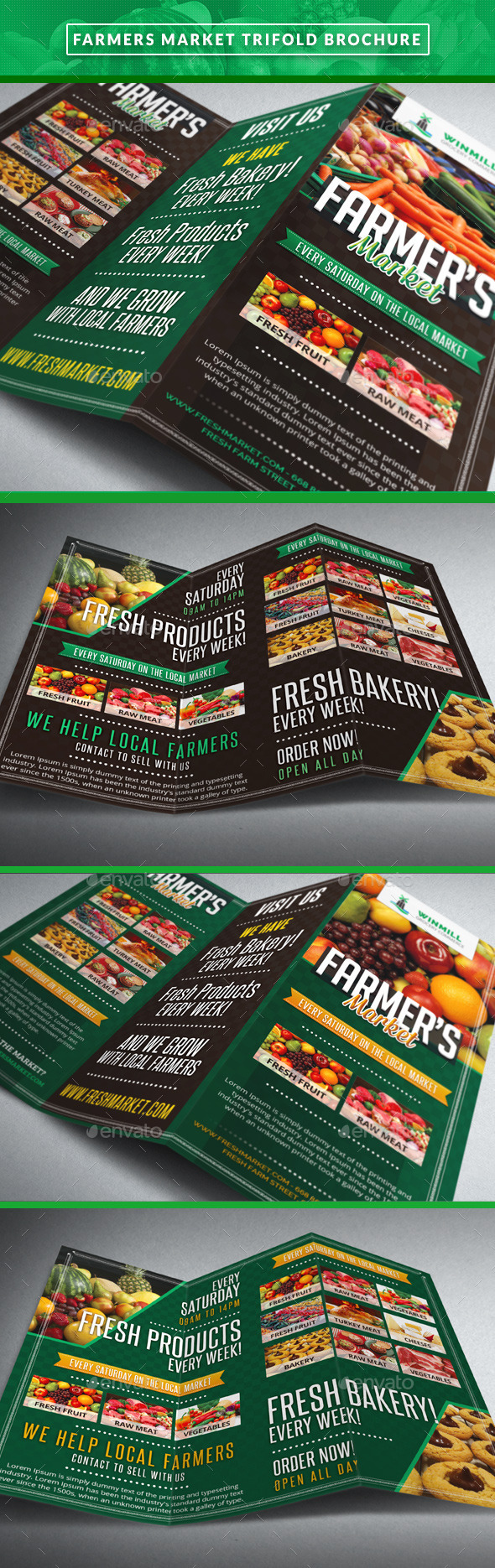 Farmer's Market Commerce Trifold - Brochures Print Templates
