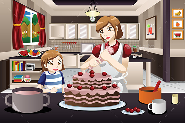 Mother Daughter Decorating a Cake - People Characters