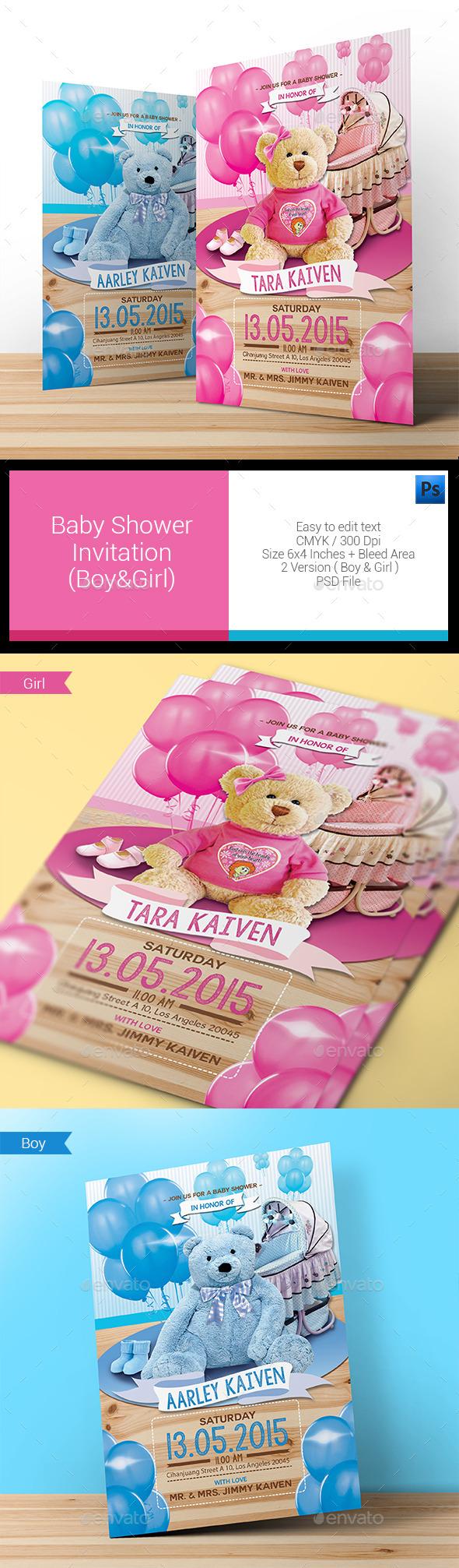 Baby Shower Invitation (Boy & Girl) - Invitations Cards & Invites