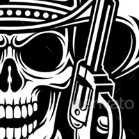 Cool Skull Logos With Guns Cowboy Skull Hold Guns...