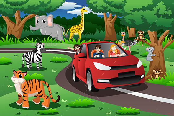 Family on a Trip to an Animal Park - Travel Conceptual