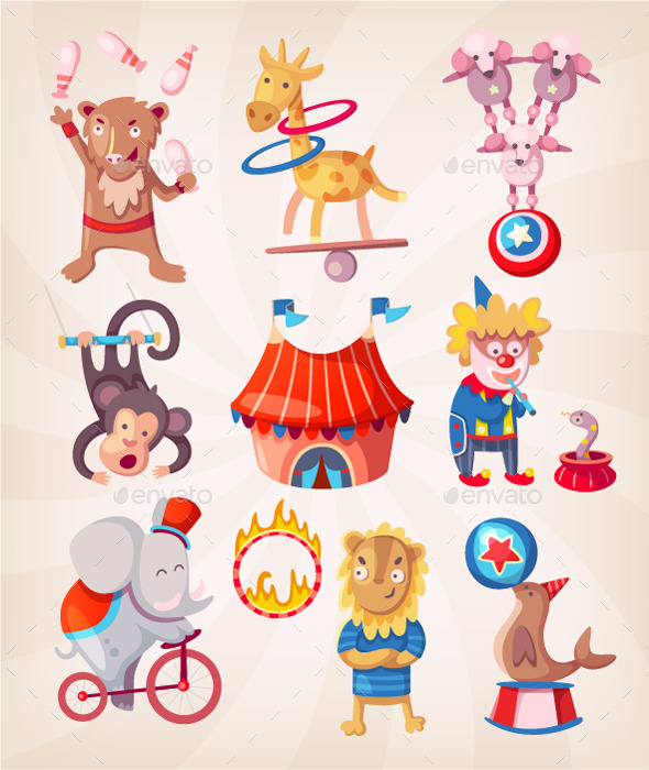 Circus Animals doing Tricks - Animals Characters