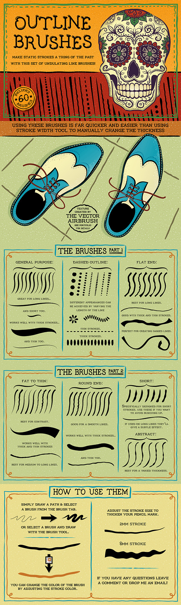 Outline Brushes - Brushes Illustrator