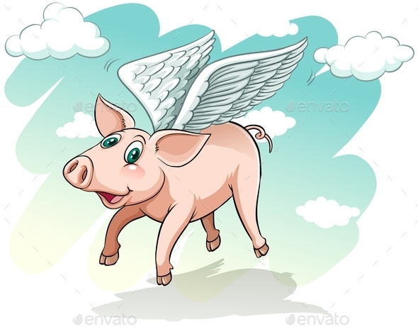 A Flying Pig - Animals Characters