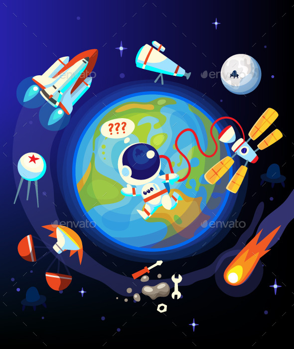 Colorful Space and Earth Icons - Travel Conceptual
