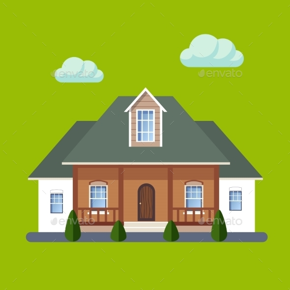 Colorful Flat Residential Houses - Buildings Objects