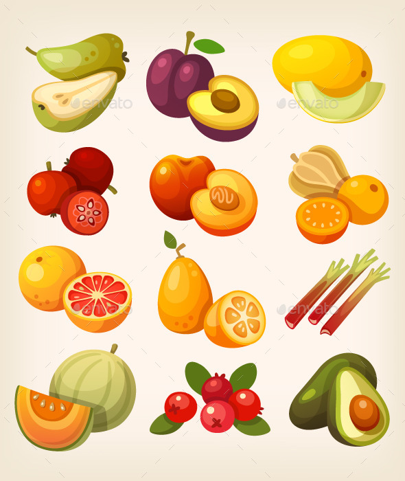 Set of Colorful Exotic Fruit - Food Objects