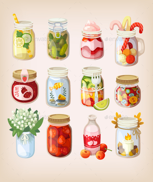 Mason Jars with Things - Food Objects