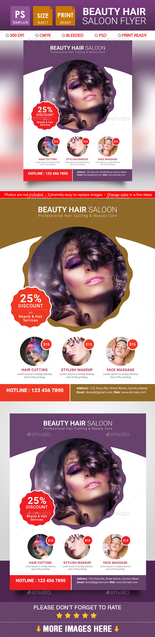 Beauty Hair Saloon Flyer - Corporate Business Cards