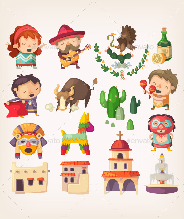 Mexican Set with Local Elements and Characters - Travel Conceptual