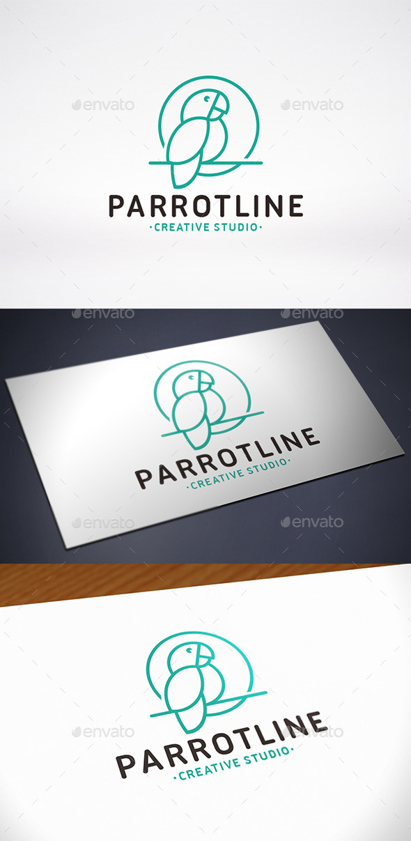 Parrot Line Logo Template - Animals Logo Templates