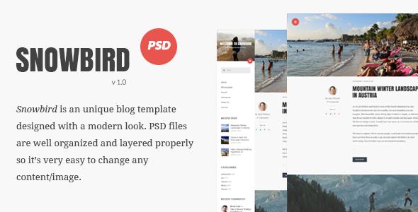 Snowbird Personal Blog PSD Template