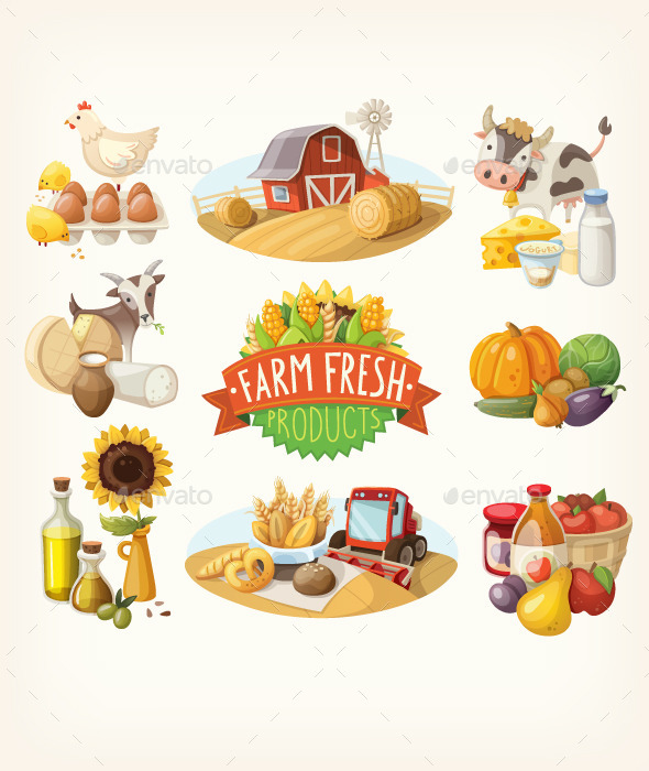 Set of Farm Fresh Illustrations - Organic Objects Objects