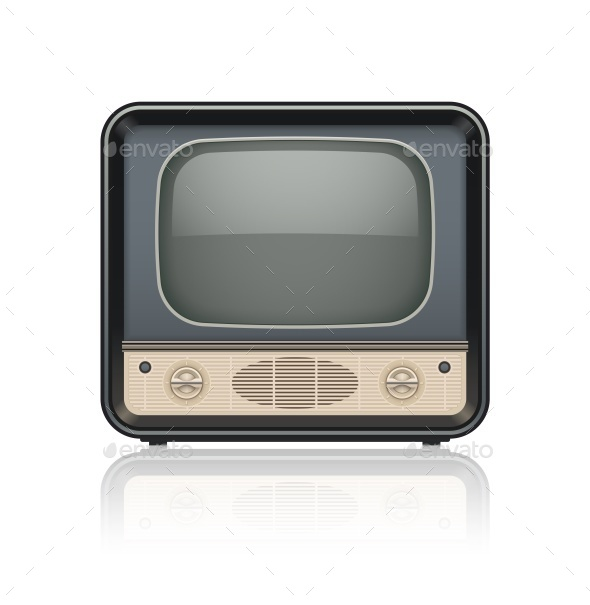 Vintage Retro TV Set Icon - Man-made Objects Objects