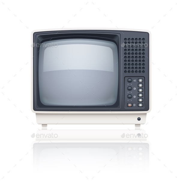Old Style Retro TV Set Icon - Man-made Objects Objects