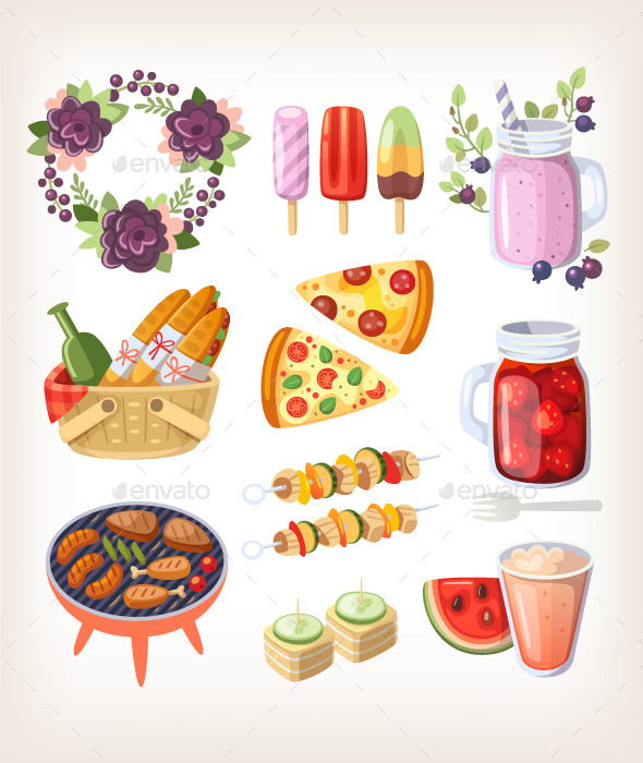 Summer Food and Recreation Elements - Food Objects
