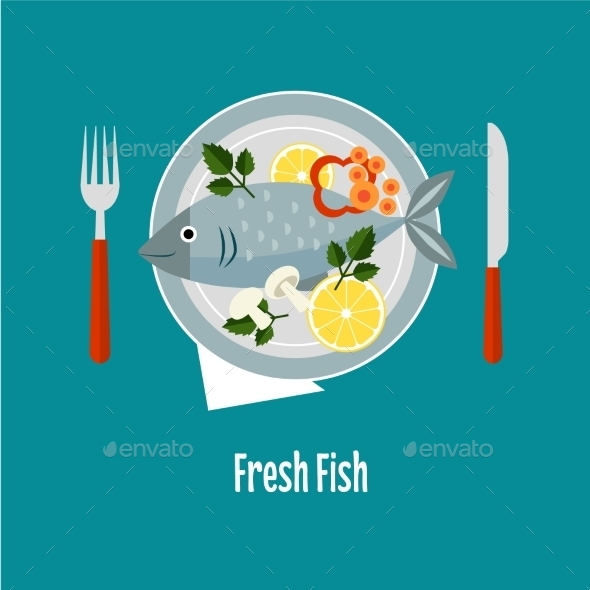 Cooked Fish And Raw Vegetables On a Plate - Food Objects
