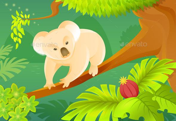 Cartoon Koala On A Jungle Background - Animals Characters