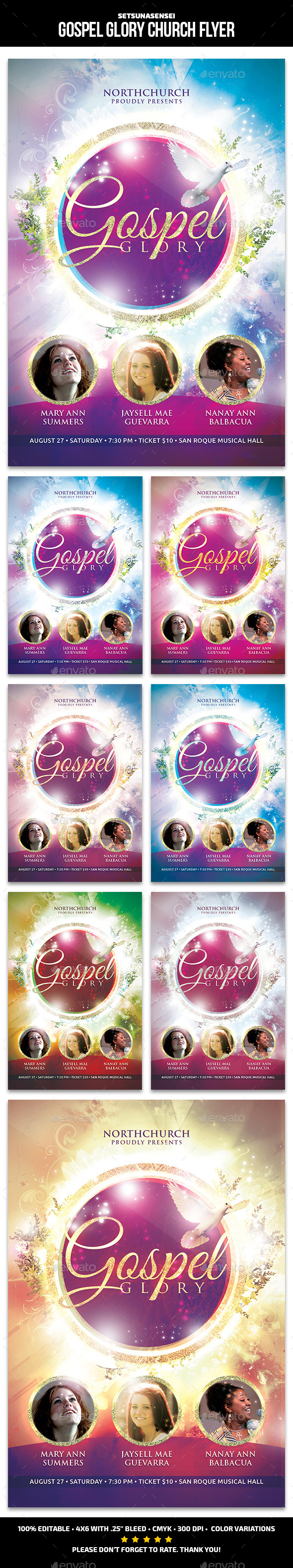Gospel Glory Church Flyer - Church Flyers