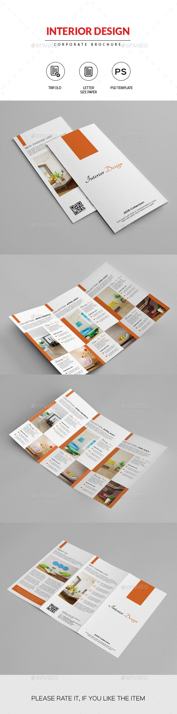 Minimal Trifold Brochure for Interior Design - Corporate Brochures