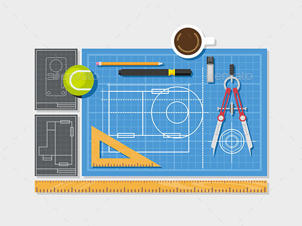 Blueprint with Ruler, Compass and Cup of Coffee - Man-made Objects Objects