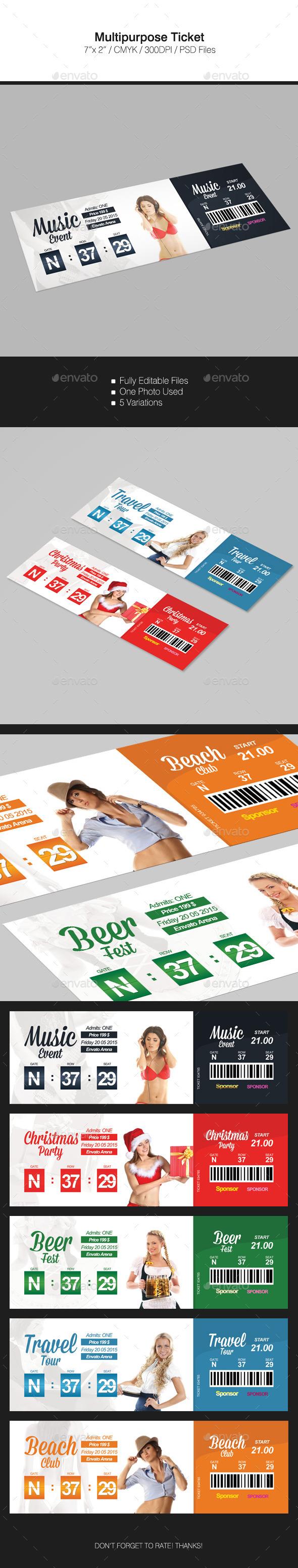 MultipurposeTicket - Cards & Invites Print Templates