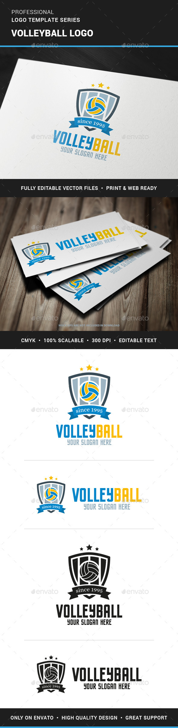 Volleyball Logo Template - Crests Logo Templates