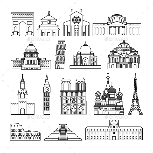 Monuments Thin Line Icons - Travel Conceptual