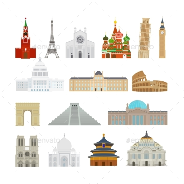 Monuments Flat Icons - Travel Conceptual