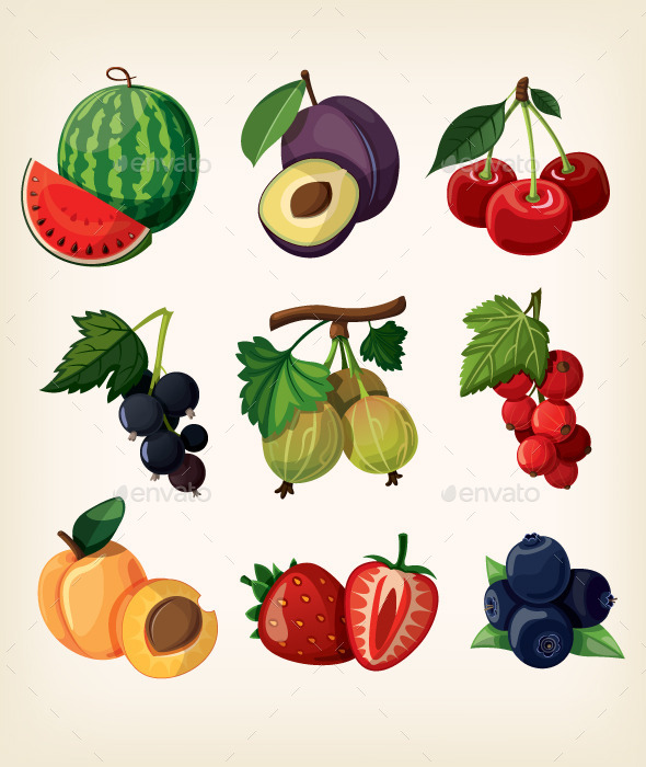 Juicy Colorful Berry Icons - Food Objects