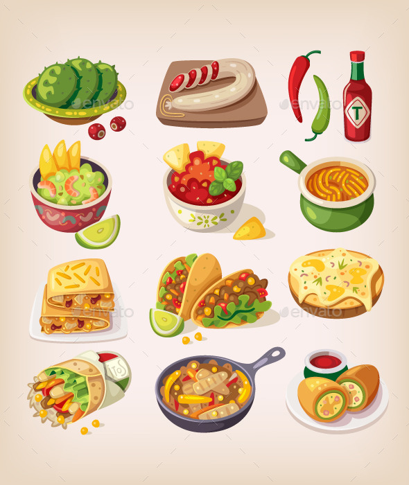 Colorful Mexican Food - Food Objects