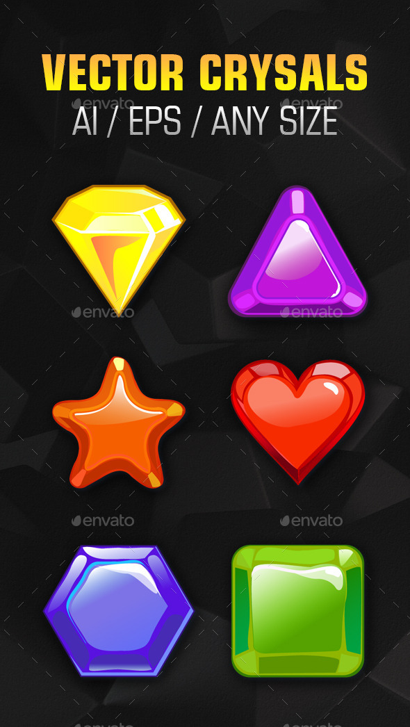 Colored Crystals of Various Shapes - Miscellaneous Vectors