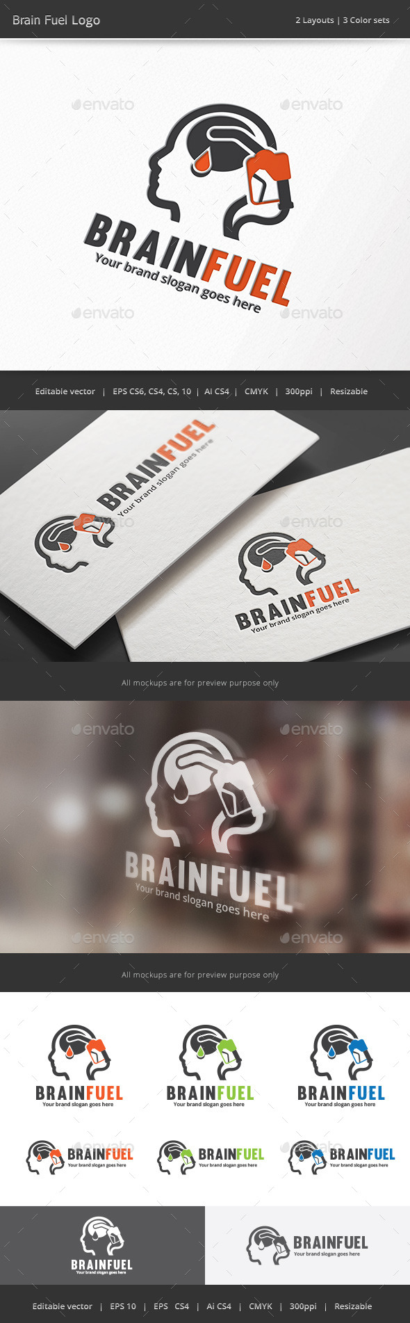 Brain Fuel Logo - Vector Abstract