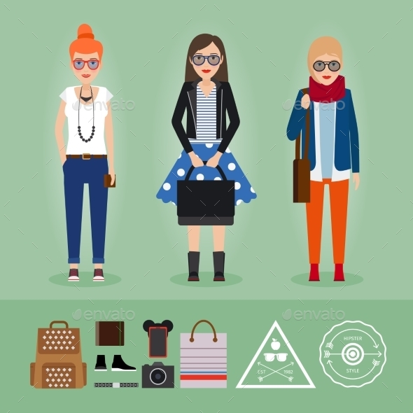 Hipster Girls With Accessories - People Characters