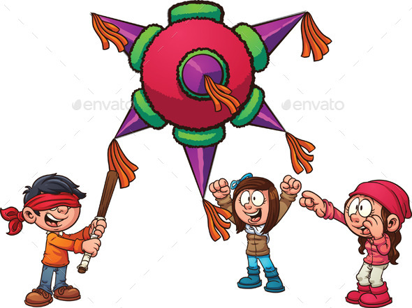 Kids with Pinata - People Characters