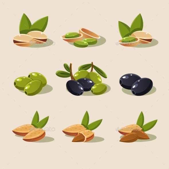 Olives and Nuts - Food Objects