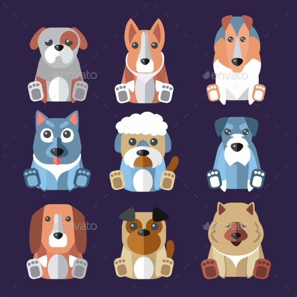 Breeds of Dogs Icons - Animals Characters