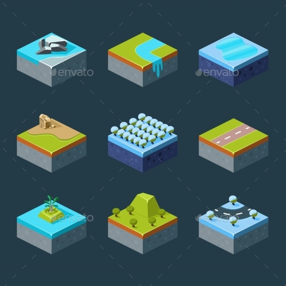 Isometric Landscape - Organic Objects Objects