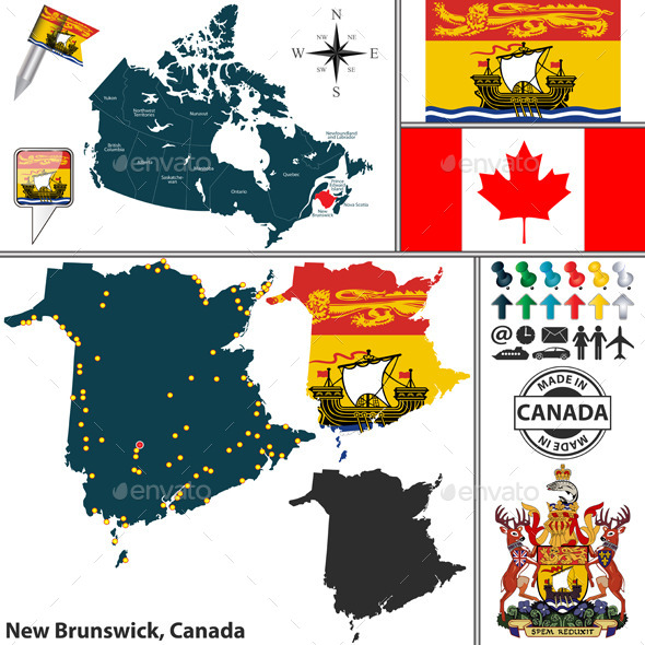Map of New Brunswick, Canada - Travel Conceptual