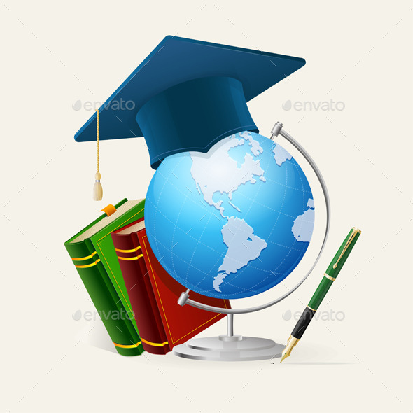 Graduation Cap, Stack of Books, Globe and Pen - Miscellaneous Conceptual