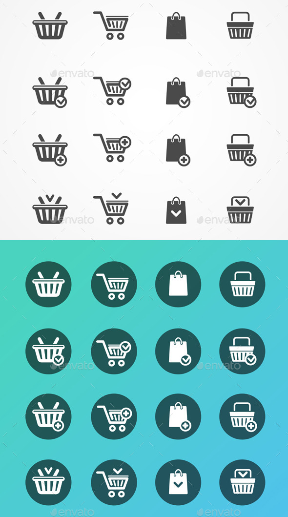 Set of Shopping Cart Icons  - Retail Commercial / Shopping