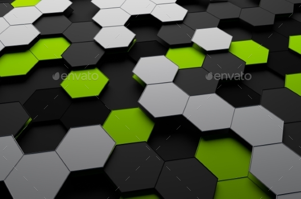 Rendering Of Futuristic Surface With Hexagons - 3D Backgrounds