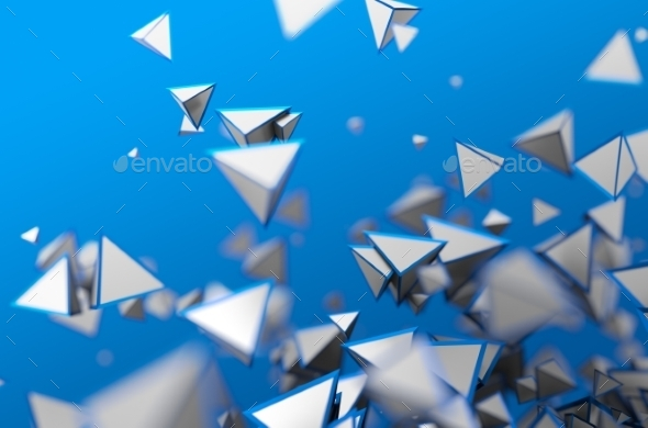 Abstract 3D Rendering Of Flying Pyramids - 3D Backgrounds